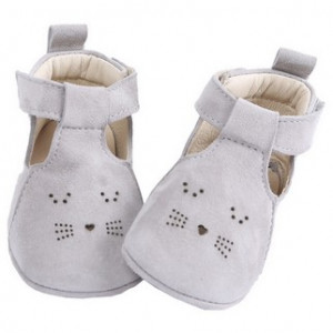 Chaussons cuir Gris
