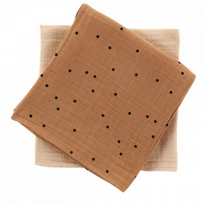 Pack de 2 Langes . Dots Nut+Nude