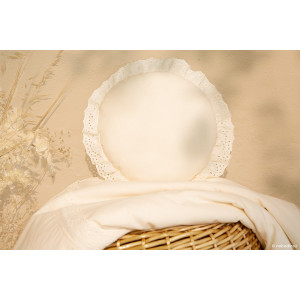 Coussin rond Vera EYELET LACE - natural
